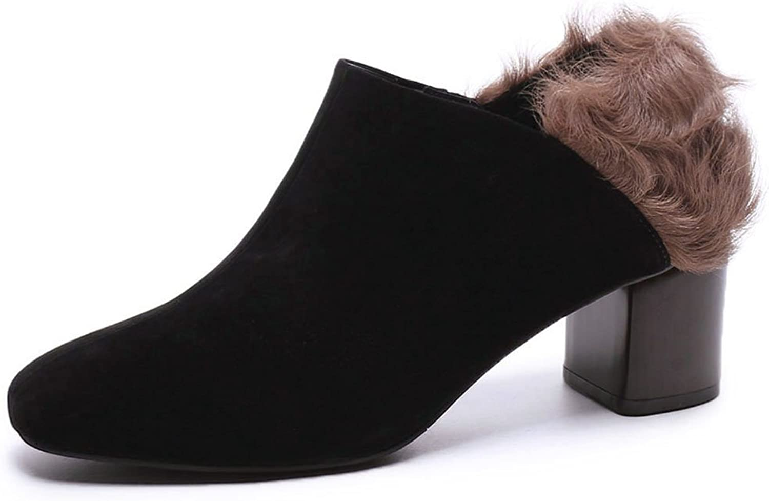 MINIVOG Women's Kid Seude Boot Ankle High Square Toe Booties