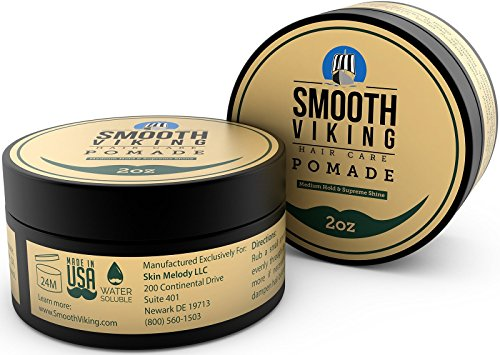 Pomade for Men, Medium Hold & High Shine,Hair Styling Formula for Straight, Thick and Curly Hair, 2 OZ - Smooth Viking…