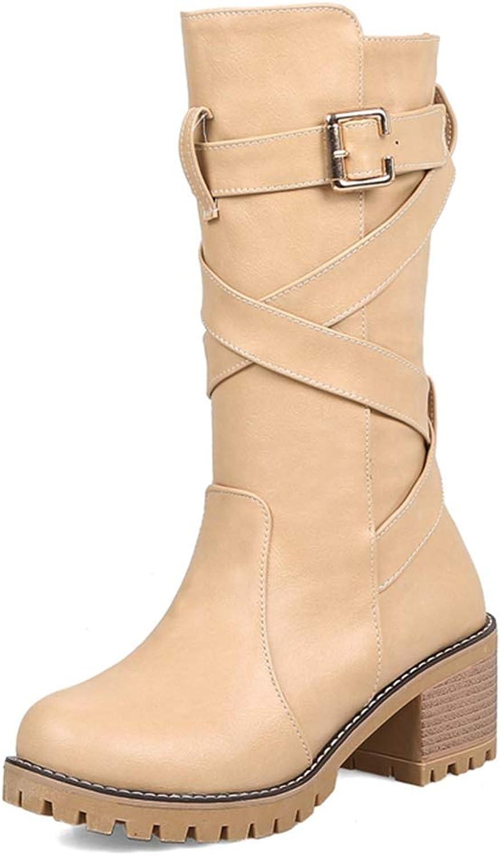 GIY Women's Mid Calf Boots Waterproof Adjustable Buckles Pull-On Block Heel Combat Riding Boots Cowboy Boots