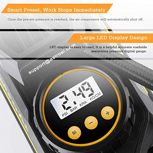 AstroAI Portable Air Compressor, Tire Inflator, Car Air Pump. Compresseur Voiture 12V DC Auto Tire Pump with Digital Pressure Gauge, 100 PSI with Emergency LED Light for Car, Bicycle and Other Inflatables, Yellow, Cadeau