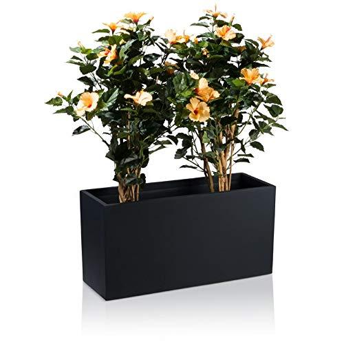 DECORAS Pflanztrog Blumentrog VISIO Fiberglas Blumenkübel - Farbe: schwarz matt - großer Wetter- und winterfester Pflanzkübel für Innen & Außen - TÜV-geprüfte Qualität