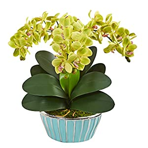Nearly Natural 1931-GR Phalaenopsis Orchid Artificial Designer Turquoise Vase Silk Arrangements Green