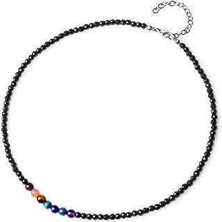 Collar Choker Ajustable Cuentas Mala Piedra Semipreciosa 7 Chakra con Ónice o Howlita Tallada