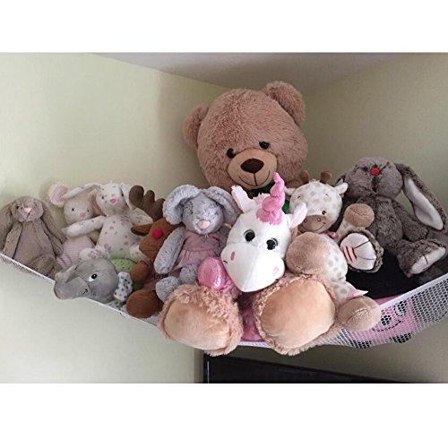 Jumbo Toy Hammock, Powkoo Extra Large Toy Hammock Storage Net Organizer for Teddys, Stuffed Animals, Nursery Play(84 x 59 x 59 inches) (White)