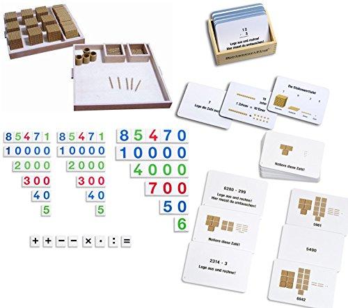 Großes Goldenes Montessori Perlenmaterial mit viel Zubehör, Zahlentafeln, großer Lernkartei, inkl. Selbstkontrolle