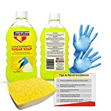 Sugar Soap for Cleaning Walls, Grease, Grime, Dirt, Nicotine Stains and general household cleaning. Includes 2 x 500ml Concentrate Solution Bundled with Decorator's Sponge and non-latex gloves.
