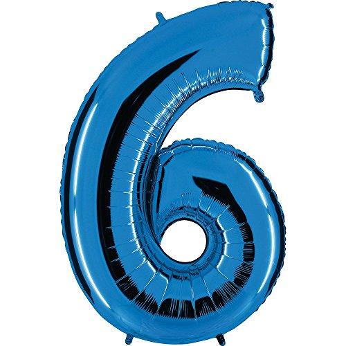 Ballon Zahl in Blau - XXL Riesenzahl 100cm - für Geburtstag Jubiläum & Co - Neun - Party Geschenk Dekoration Folienballon Luftballon Happy Birthday (Zahl 6)