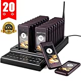 ELIKLIV 20CH Restaurant Call Coaster Pagers/Guest Waiting Pager/Wireless Paging System with Charging Dock and Transmitter for Food Truck Clinic Church Cafe Shop