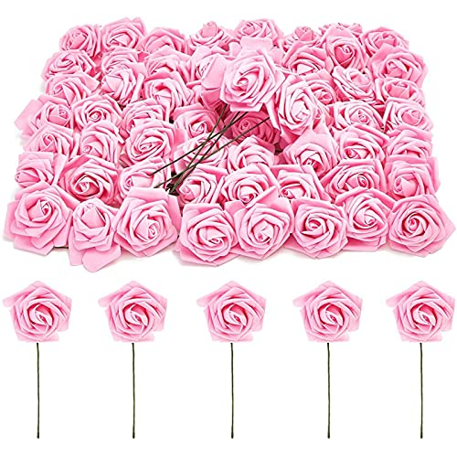 Bright Creations Rose Flower Heads with Stems, Pink Roses Artificial Flowers (3 in, 60 Pack)