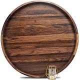 MAGIGO 24 Inches Extra Large Round Black Walnut Wood Ottoman Tray with Handles, Serve Tea, Coffee or Breakfast in Bed, Classic Circular Wooden Decorative Serving Tray