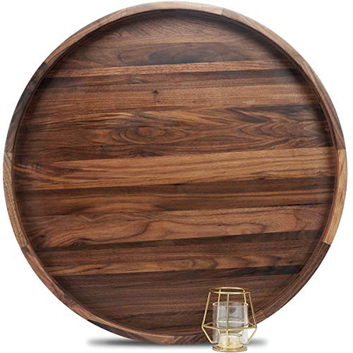 MAGIGO 24 Inches Extra Large Round Black Walnut Wood Ottoman Tray with Handles Serve Tea Coffee or Breakfast in Bed Classic Circular Wooden Decorative Serving Tray