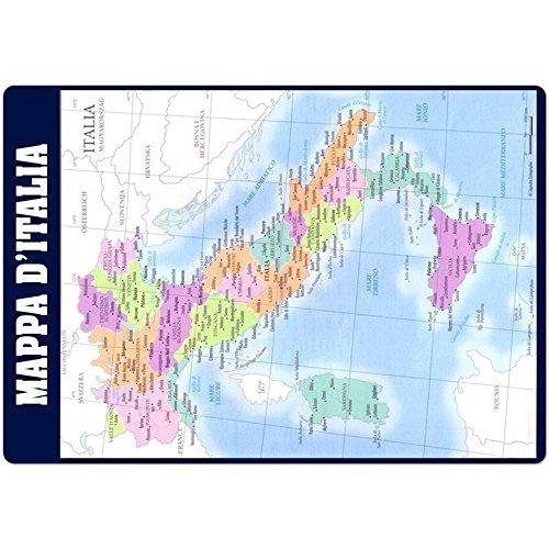 Erik® - Sottomano Mulitifunzione Mappa d'Italia in italiano, ideale come sottomano scrivania o tovaglietta colazione, 49,5x34,5 cm