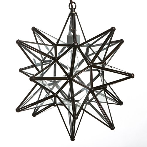 Glass Star Lights - 15 Inch Star Pendant Light (Clear)