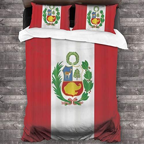 BROWCIN Juego de Sábanas Silinana Bandera de Perú Patrón Impresión Digital Juego de Funda nórdica y Funda de Almohada(240*260cm) Cierre de Cremallera con Lazos de Esquina