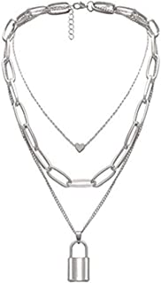 Yellow Chimes Trendy Fashion Silver Plated Base Metal Multilayered Key Heart Locket Chain Choker Necklace for Women