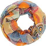 fashionchimp ® Damen-Loop mit Kreis-Muster, Psychedelic-Print, Schlauchschal, Sommer-Schal (Orange)