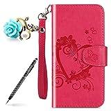 Uposao Kompatibel mit Handytasche Xiaomi Redmi Note 5A Leder Hülle Leder Tasche Schmetterling Blumen Handyhülle Klapphülle Book Hülle Wallet Flip Hülle Cover Handy Schutzhülle,Hot Pink