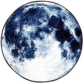 GWELL Circle Moon Rug, Galaxy Carpet, for Living Room, Bedroom, Dining Room, Bathroom, Study, Kitchen, Anti-Slip, Water Absorbing (φ 23.6 Inch, Blue Moon)
