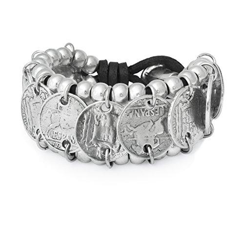 Beau Soleil Jewelry Lederarmband Münzen breites Münzarmband mit spanischen Münzen Lederschmuck Ibiza Style (Schwarz 18cm)