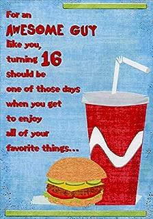 Designer Greetings Hamburger and Soda Age 16 / 16th Birthday Card for Him