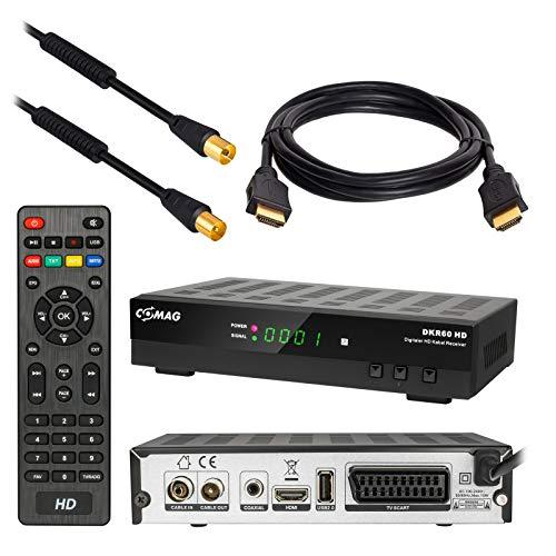 HB DIGITAL Set : Kabel Receiver DVB-C Comag DKR60 HD DVB-C Receiver für Kabelfernsehen + HDMI Kabel + 1m Antennenkabel mit Mantelstromfilter schwarz (Full HD HDTV HDMI SCART USB)