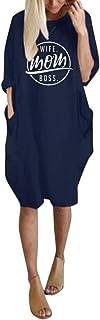 MRULIC Damen Tasche Lose Kleid Damen Rundhalsausschnitt Beiläufige Lange Tops Kleid Plus Größe Tunkia Bluse Crop Tops
