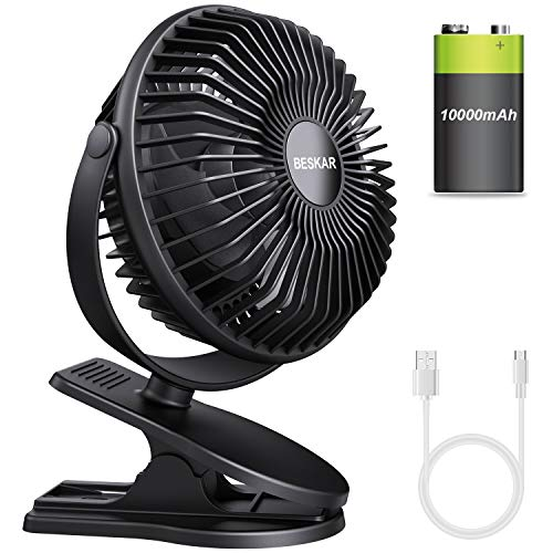 BESKAR 10000mAh Rechargeable Battery Operated Mini Clip Fan with 36 Hours(MAX) Sturdy Clamp 3 Speeds Fast Air Circulating Desk Fan for Outdoor/Indoor Beach Golf Cart Treadmill Office