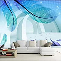 Bosakp カスタム写真の壁紙現代のシンプルなファッション3Dステレオスペースブルーフェザーアート壁画絵画壁紙リビングルーム 280X200Cm