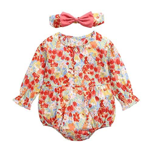 Sanlutoz Algodón Niñas Bebés Princesa Monos + Venda Linda Flores Ropa de bebé Manga Larga Bebé una Pieza (18-24 Meses, BRW2049-RD)