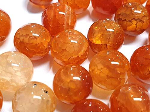 Natur Crackle Dragon - Perlas de ágata, con vetas, piedras preciosas, rojo y naranja, bolas de 6 / 8 / 10 mm, piedras decorativas, para manualidades, piedra, naranja, 6mm 18 Stück