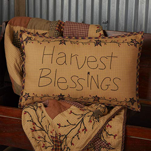 VHC Brands Heritage Farms Harvest Blessings Text Cotton Primitive Thanksgiving Decor Appliqued 22x14 Filled Throw-Pillow, 14x22