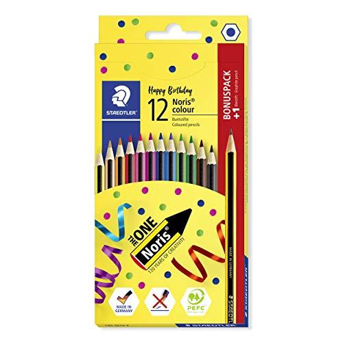 STAEDTLER Bunstifte Noris colour, hohe Bruchfestigkeit, Sechskantform, ergonomische Soft-Oberfläche, WOPEX-Material, Aktions-Set mit 12 Farben und 1 Noris HB-Bleistift, 185 SET9 P