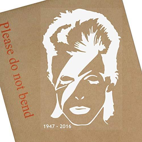Platinum Place Vinyl-Aufkleber David Bowie mit Dates, weiß auf durchsichtigem Ziggy Stardust für Auto, Lieferwagen, Fahrzeugfenster, Musik, Tanz, Fenster, Weiß, klar, Song, Major, Tom, Geburt, Tod