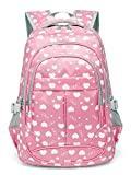 Hearts Print School Backpacks for Girls Kids Elementary School Bags Bookbag, Pink (Pink)