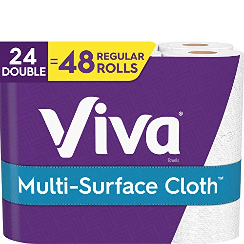 Viva Multi-Surface Cloth Choose-A-Sheet Kitchen Paper Towels, White, 24 Double Rolls (110 Sheets per...