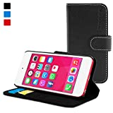 iPod Touch Case, Snugg Black Leather Flip Case [Card Slots] Executive Apple iPod Touch Wallet Case Cover and Stand - Legacy Series
