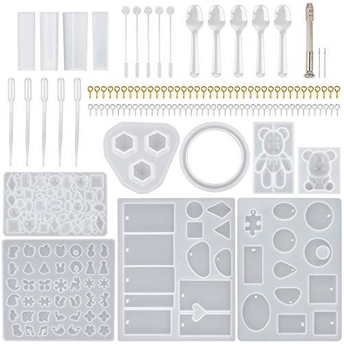 121 pièces moules à bijoux Kits de Silicone, ensemble d'outils de moules de moulage en résine multifonction, moule époxy en Silicone pour la fabrication de bijoux à bricoler soi-même