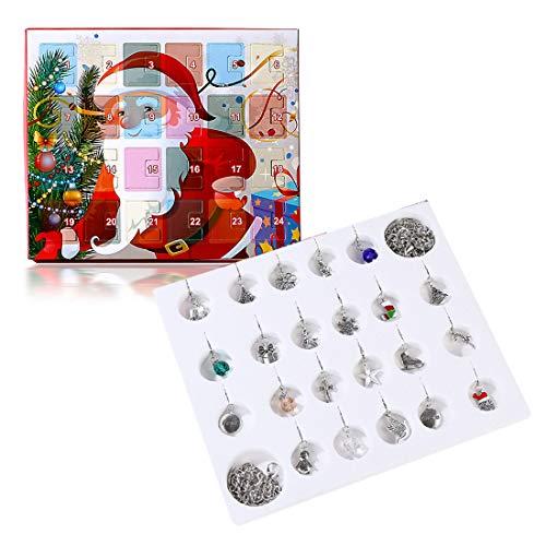 Tosbess - Calendario dell'Avvento natalizio per bambine, fai da te, bracciale per ragazze, accessori di gioielli, regalo sorpresa per i bambini (include braccialetto e collana)