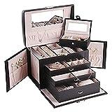 Simwa Cajas de joyería Caja de joyería Elegante Joyas de Caja de Almacenamiento Organizador de joyería Caja de Almacenamiento de Joyas (Color : Black)