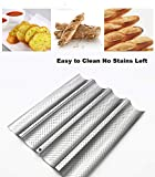 Mostwishedfor Baguette Pan 4 Loaf for French Bread Baking 15'x13' Nonstick Wave Loaves Bake Mold...