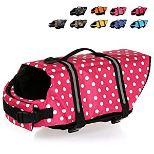 HAOCOO Dog Life Jacket Vest Saver Safety Swimsuit Preserver with Reflective Stripes/Adjustable Belt Dogs?Pink Polka Dot,S