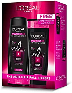 L'Oreal Paris Fall Resist 3x Anti-Hair Fall Conditioner, 175ml with Fall Resist Shampoo, 175 ml Free, 135 g (Pack of 2)