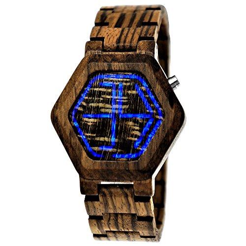Handgefertigte Holzwerk Germany® Designer Matrix Unisex Herren-Uhr Damen-Uhr Öko Natur Holz-Uhr Armband-Uhr Digital Led Braun