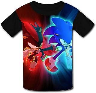 guoweiweiB Camisetas de Manga Corta para niño, Shadow So-N-IC The Hedgehog Neon Red Blue Boys/Girls T-Shirts Youth Tees Sh...