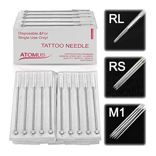 ATOMUS 100 Stücke Einweg Tattoo Nadeln gemischt 3RL 5RL 7RL 9RL 3RS 5RS 7RS 9RS 5M1 7M1 sterilisierte Edelstahl Nadeln Set für Liner und Shader Tattoo Zubehör