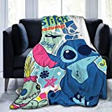 Sti-tc-h with Li-lo Fleece Throw Blanket Ultra Soft Cozy Warm Throw Lightweight Blanket Anti-Pilling Flannel for Adults & Kids 50'x40'