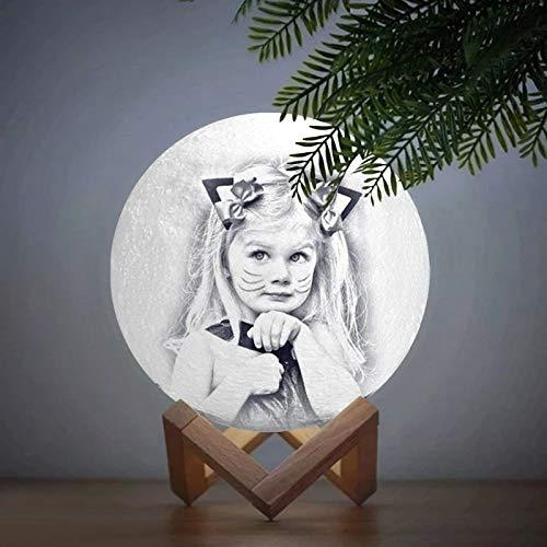 JINFU Personalisierte Mondlampe mit Bild Prime Moonlight Nachtlicht Home Decoration Customized Personalized Moon USB Ladelampe Fernbedienung Schalter Geschenke für Freunde (10cm)