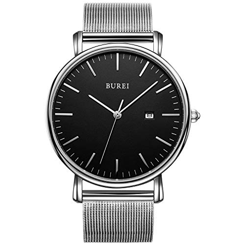 BUREI Men's Fashion Minimalist Wrist Watch Analog Date with Stainless Steel Mesh Band (Black Silver)