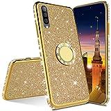 MRSTER Compatibile con Samsung Galaxy A8 2018 Custodia Glitter Bling Scintillante Brillantini Custodia con Ring Kickstand Rotante a 360 Gradi Donna Cover per Samsung Galaxy A8 2018. Gold