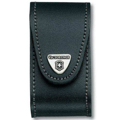 Victorinox Leder-Etui für Taschenmesser (Gürtelschlaufe, Klettverschluss, Schwarz, 4.9cm x 9.8cm) schwarz